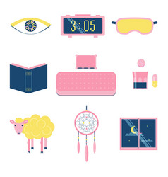 sleep flat icon set vector image