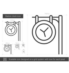Station clock line icon vector