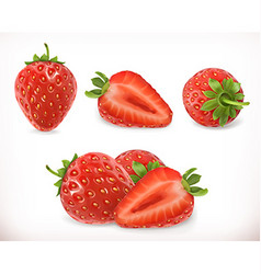 Strawberry sweet fruit 3d icons set realistic vector
