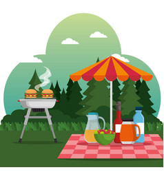 summer picnic outdoor barbecue grill vector image