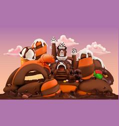 Sweet factory chocolate castle 3d cartoon vector