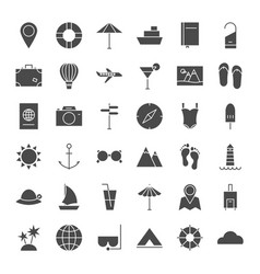 Travel solid web icons vector
