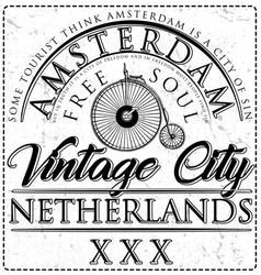 typographic amsterdam city poster design vector image