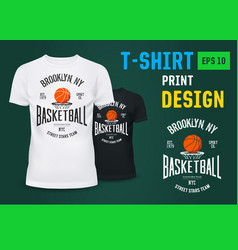 u-neck t-shirt with basketball ny team sign vector image