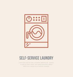 washing machine icon washer line logo flat sign vector image