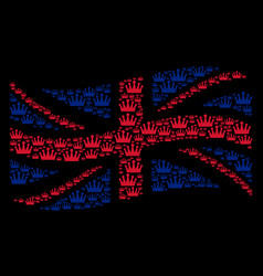 Waving uk flag pattern of crown items vector