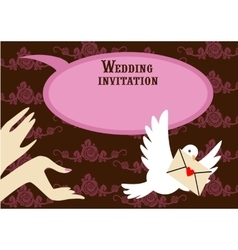 Wedding pink invitation vector image