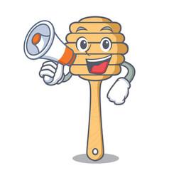 with megaphone honey spoon character cartoon vector image