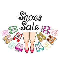 Womens shoes sale with woman legs and lettering vector