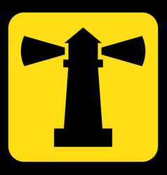 yellow black information sign - lighthouse icon vector image