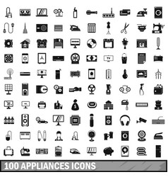 100 appliances icons set simple style vector