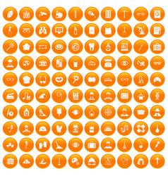 100 profession icons set orange vector
