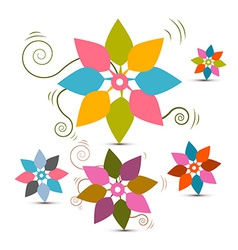 Abstract Retro Flowers Set vector image vector image