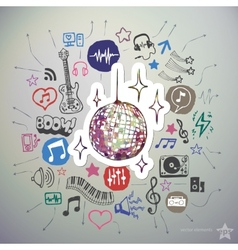 Hand drawn music icons set and sticker with disco vector image vector image