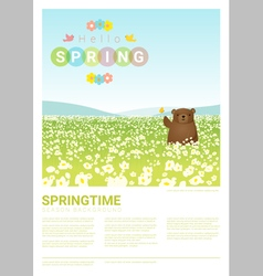 Hello spring landscape background with bear 3 vector