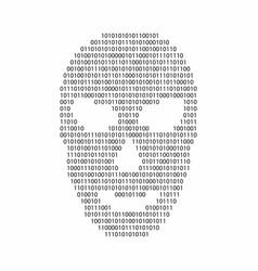 Binary code in hacker face shape malware and vector