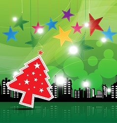 christmas festival background in the city vector image vector image