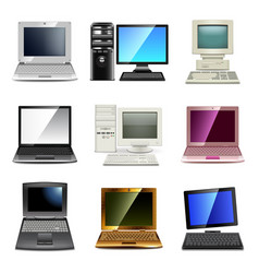 computer types icons set vector image vector image