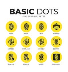 fingerprint flat icons set vector image