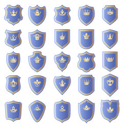 shield design set with various shapes of crowns vector image