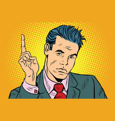 businessman pointing finger up vector image