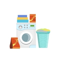 Clothes Washing Household Equipment Set vector image vector image