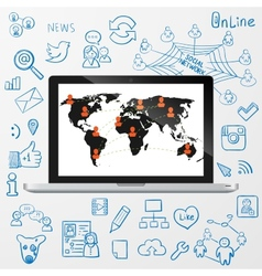 Laptop social media design vector image