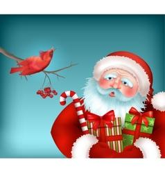 Santa is Listening to the Bird Singing vector image