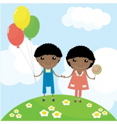 two happy kids vector image