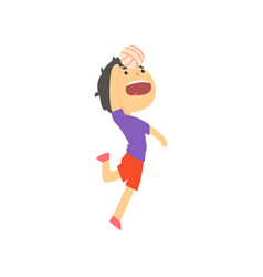 boy playing with ball kids physical activity vector image