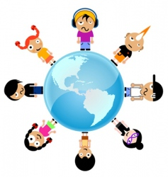 cartoon kids around the world vector image vector image