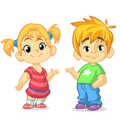 cute cartoon boy and girl vector image vector image