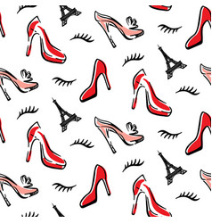 fashion seamless pattern background with red shoes vector image vector image
