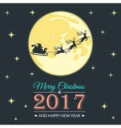Santa and moon greeting card vector image vector image
