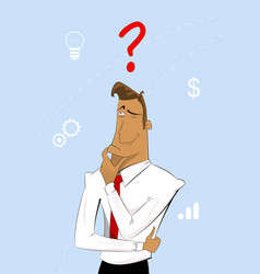 thinking cartoon businessman vector image