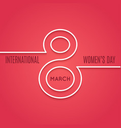 womens day 8 march line concept on red background vector image