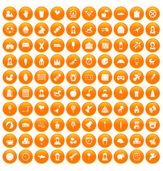 100 child center icons set orange vector