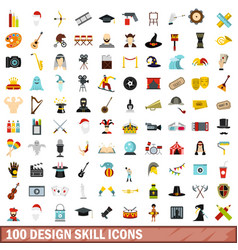 100 design skill icons set flat style vector