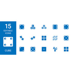 15 cube icons vector