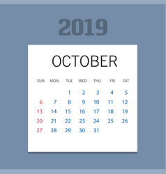 2019 happy new year october calendar template vector image