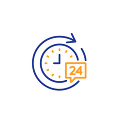 24 hours delivery line icon time sign vector image