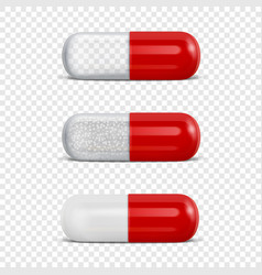 3d realistic red medical pill icon set vector image