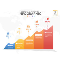 5 steps infographic timeline diagram with graphs vector image