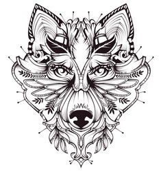 Abstract dog head tattoo vector