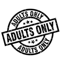 Adults only round grunge black stamp vector