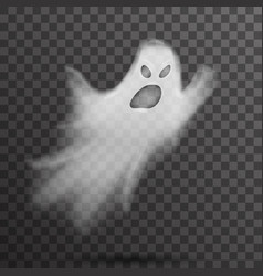Angry halloween white scary ghost isolated vector