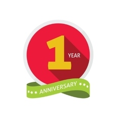 anniversary 1st logo template with shadow vector image