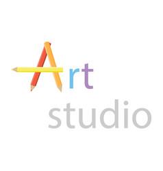 Art studio logo design element vector