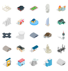 Assembly icons set isometric style vector