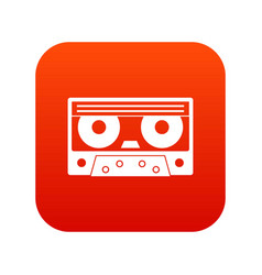 audio cassette tape icon digital red vector image